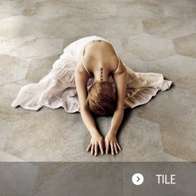 Girl on tile floor